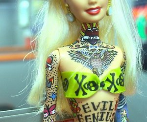 barbie, tattoo, and black and white image