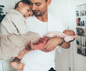 baby, dad, and toddler image