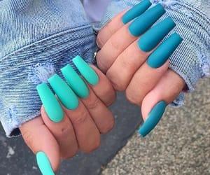 nails, blue, and acrylics image