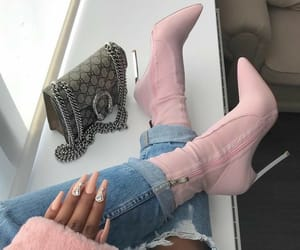 bags, pink, and boots image