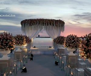altar, beach, and bridal image