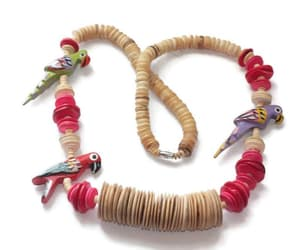 bird necklace, 28 inch necklace, and red brown beads image