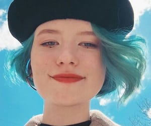 beret, hair, and blue image