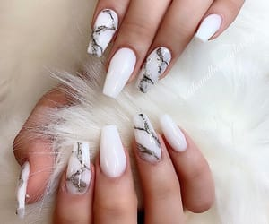 nails, white, and marbled image