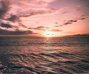 sea, sunset, and wallpaper image
