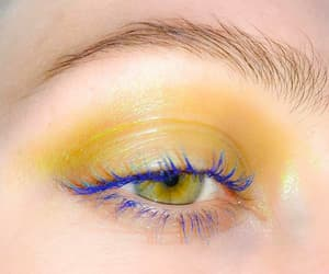 eye, makeup, and yellow image