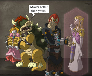 Bowser, mario, and funny image