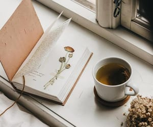 book, tea, and reading image