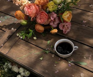 coffee, flowers, and bouquet image