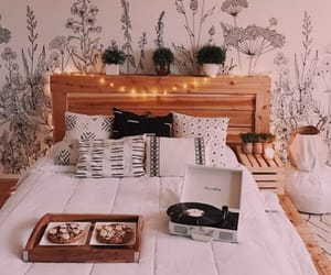 decor, bedroom, and food image