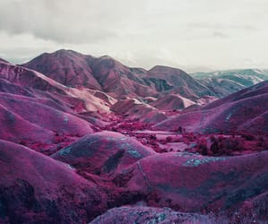 mountains, pink, and photography image