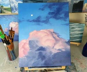 art, sky, and blue image