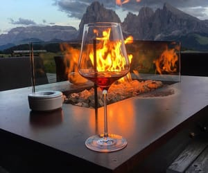 drink, fire, and wine image