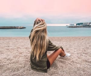 beach, girl, and blonde image