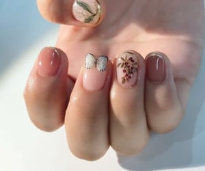 butterfly, flowers, and nails image