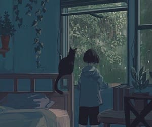 anime, blue, and cat image