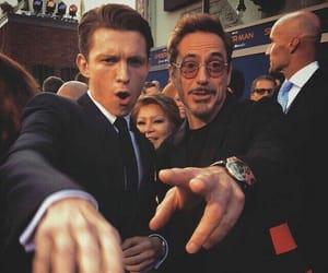 tom holland, spiderman, and robert downey jr image