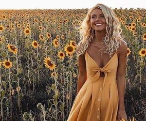yellow, dress, and sunflower image