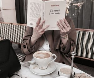 coffee, book, and girl image