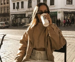 beige, coffee, and girl image