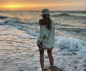 beach, hat, and nature image