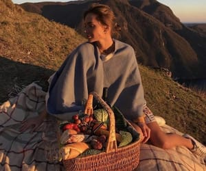girl, picnic, and sunset image