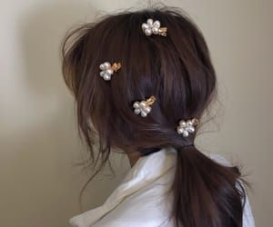 brown, brunette, and flowers image