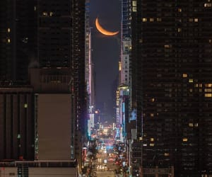 city, moon, and lights image