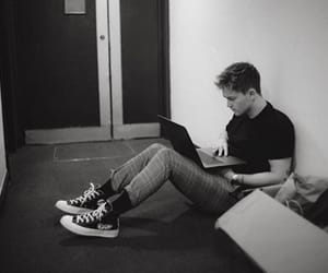 backstage, connor ball, and black and white image