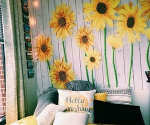 sunflower, yellow, and bedroom image