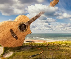 advertisement, guitar, and photography image