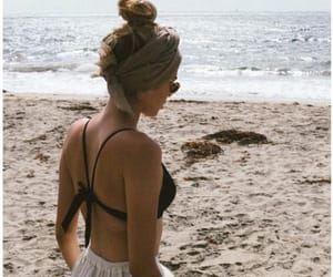 girl, beach, and sand image