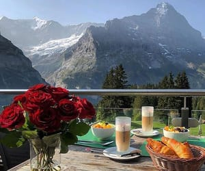 croissant, mountains, and roses image