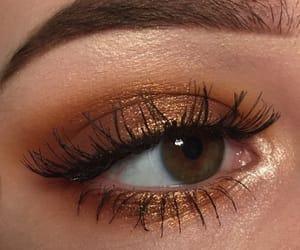 eyes, make-up, and gold image