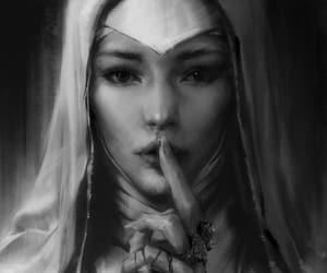 nun, sketch, and silencing image