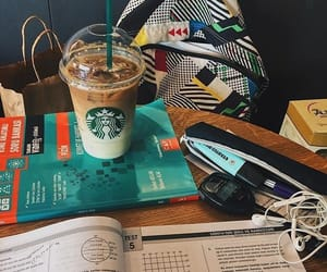 books, school, and starbucks image
