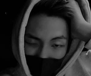 aesthetic, black and white, and rap monster image