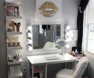 bedroom, makeup, and mirror image