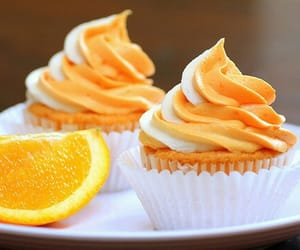 cupcake, orange, and food image
