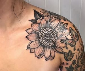 tattoo, flowers, and tats image