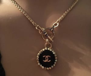 chanel, necklace, and gold image