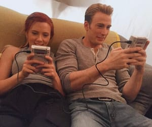 Scarlett Johansson, chris evans, and Marvel image