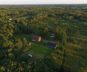 aerial photography, aerial view, and barn image