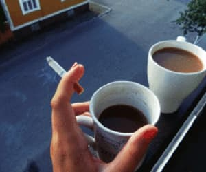 coffee, cigarette, and gif image