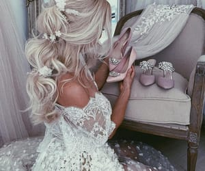 bride, dress, and shoes image