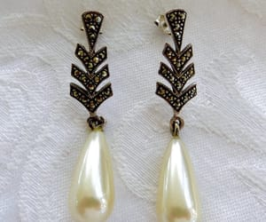 bridal jewelry, sterling earrings, and art deco earrings image