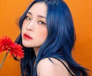 asian, blue, and flower image
