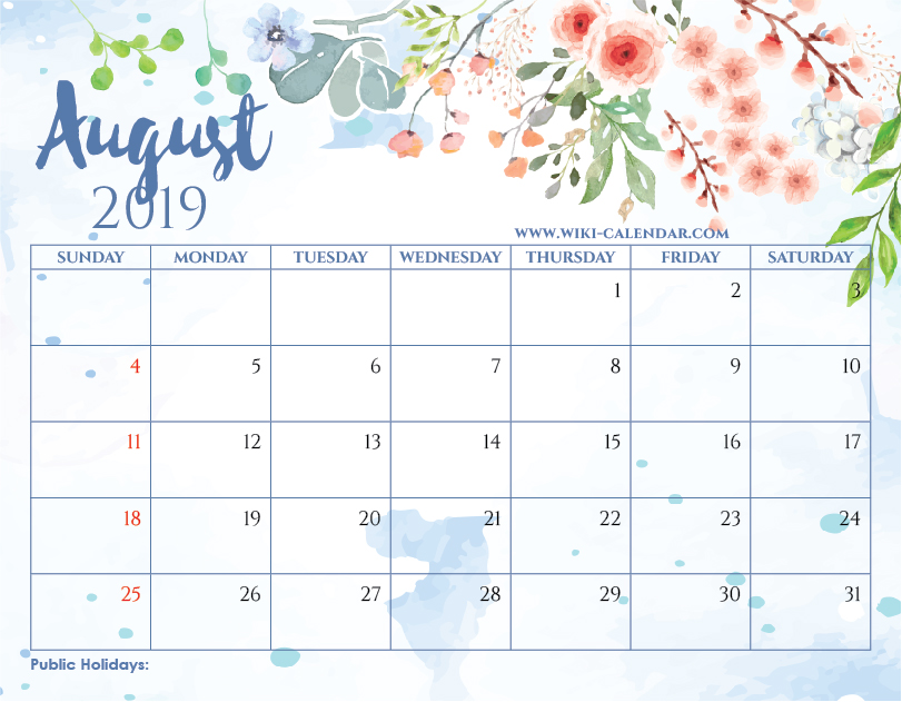 August 2019 Calendar With Holidays.Blank August 2019 Calendar Printable On We Heart It