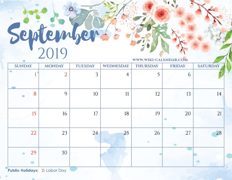 picture regarding Printable Calendar September named Blank September 2019 Calendar Printable upon We Center It