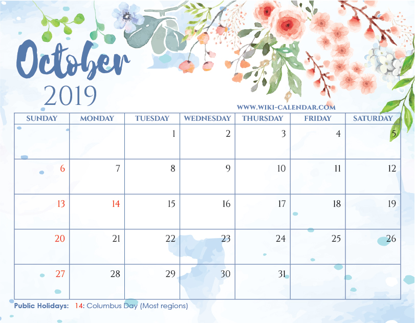 Blank October 2019 Calendar Printable On We Heart It